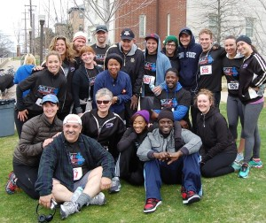 Cast of the hit Broadway Show &quot;Flashdance&quot; joined the run with (center) Capt. Jamie Hopkins, Commander of Vanderbilt NROTC