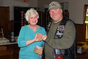 Andrea Lawrence and Jay Barnes, President, Rolling Thunder TN 1 - Special delivery of the chapter's mini bricks to say 'thanks'.
