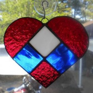 Patriotic Stained Glass Heart